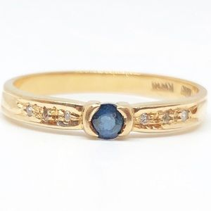 14k Yellow Gold Genuine Blue Sapphire Diamond Ring